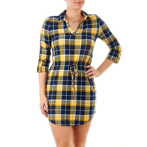 Yellow Checked Shirt Dress - Sarai Afrique