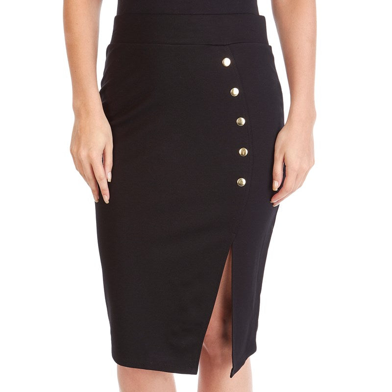 Black Slit Pencil Skirt - Sarai Afrique