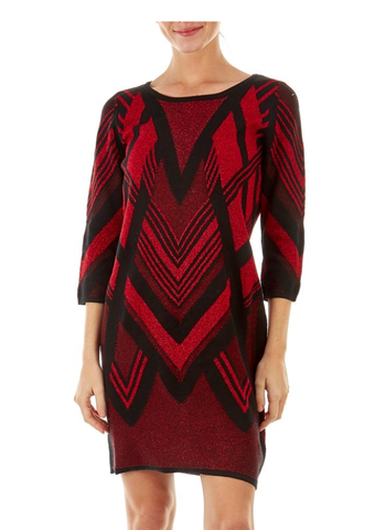 Red glittery sweater dress. - Sarai Afrique