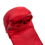 closeup red karate sparring glove