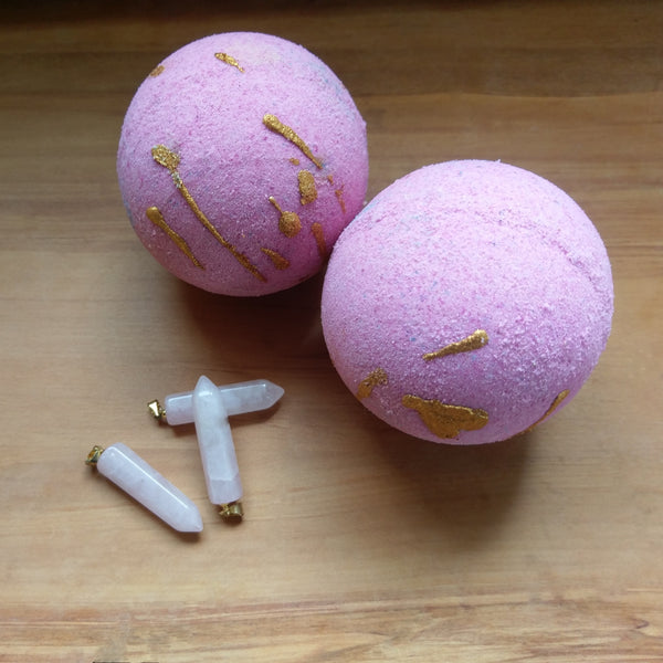 Surprise bath bombs NZ, Love spell Hidden Treasure rose quartz bath bomb