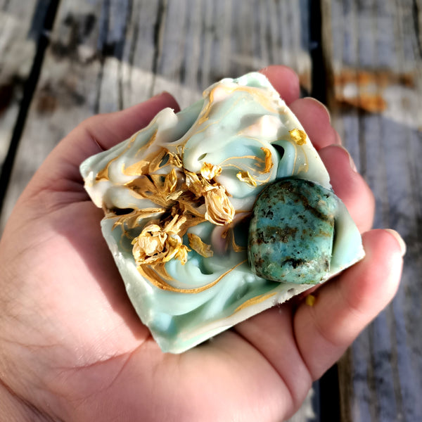 african turquoise gemstone soap