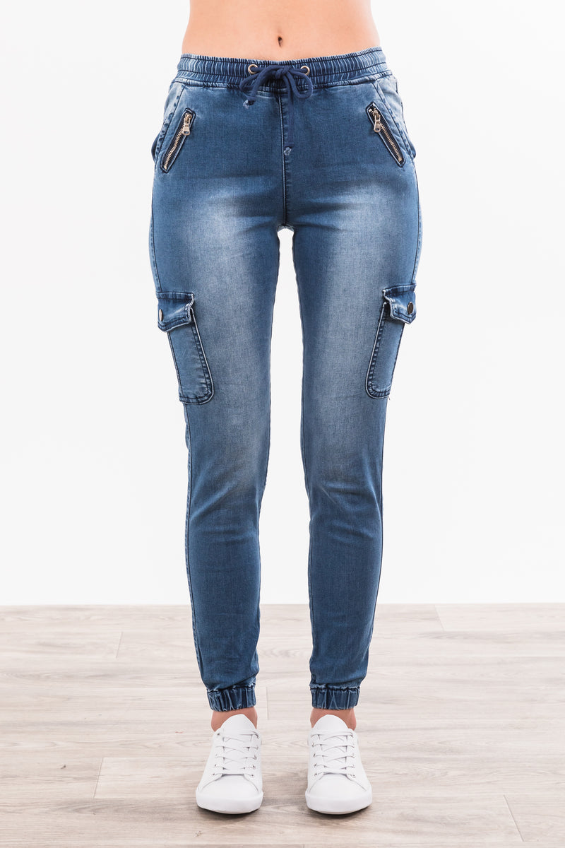 Frankie Cargo Jeans - Dark Denim