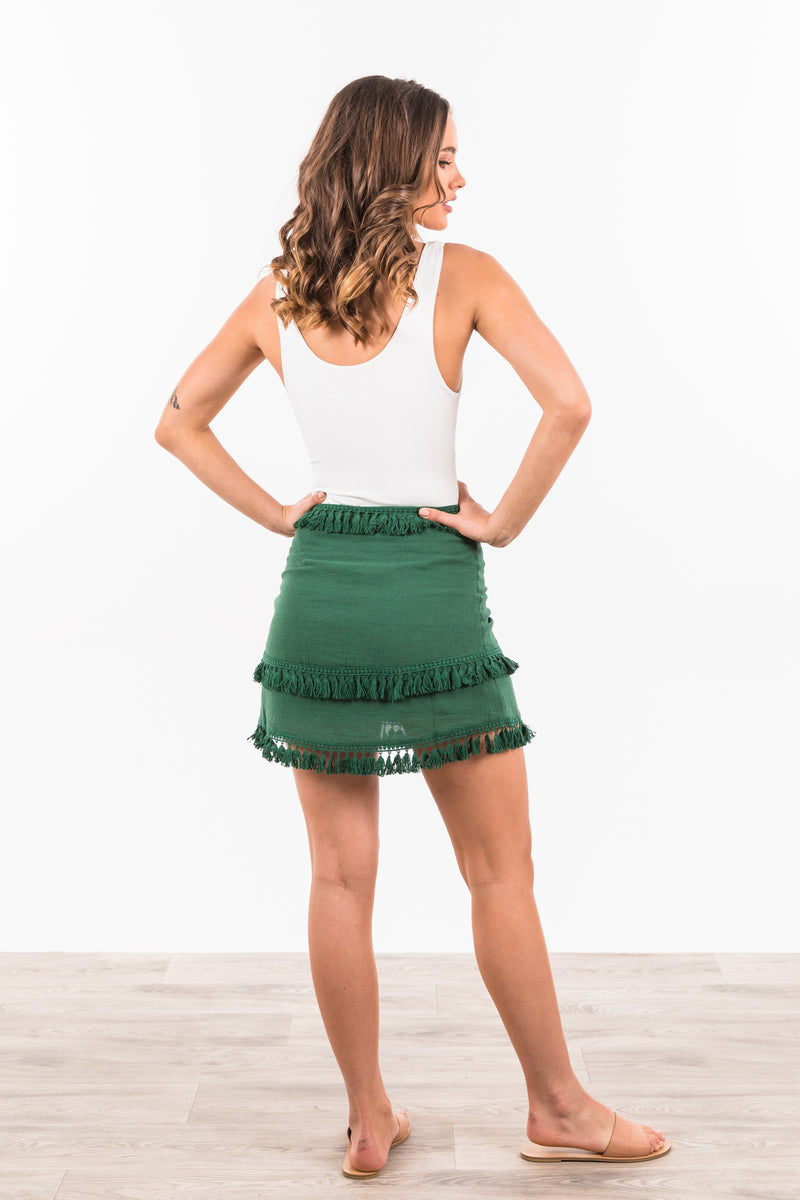 Akuma Tassle Skirt - Forest Green