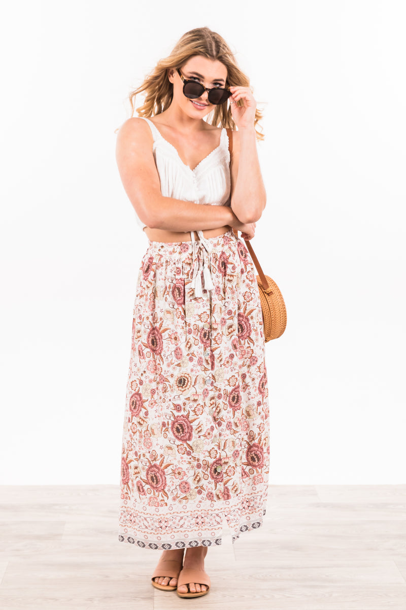 Rosie Skirt - Pink/White