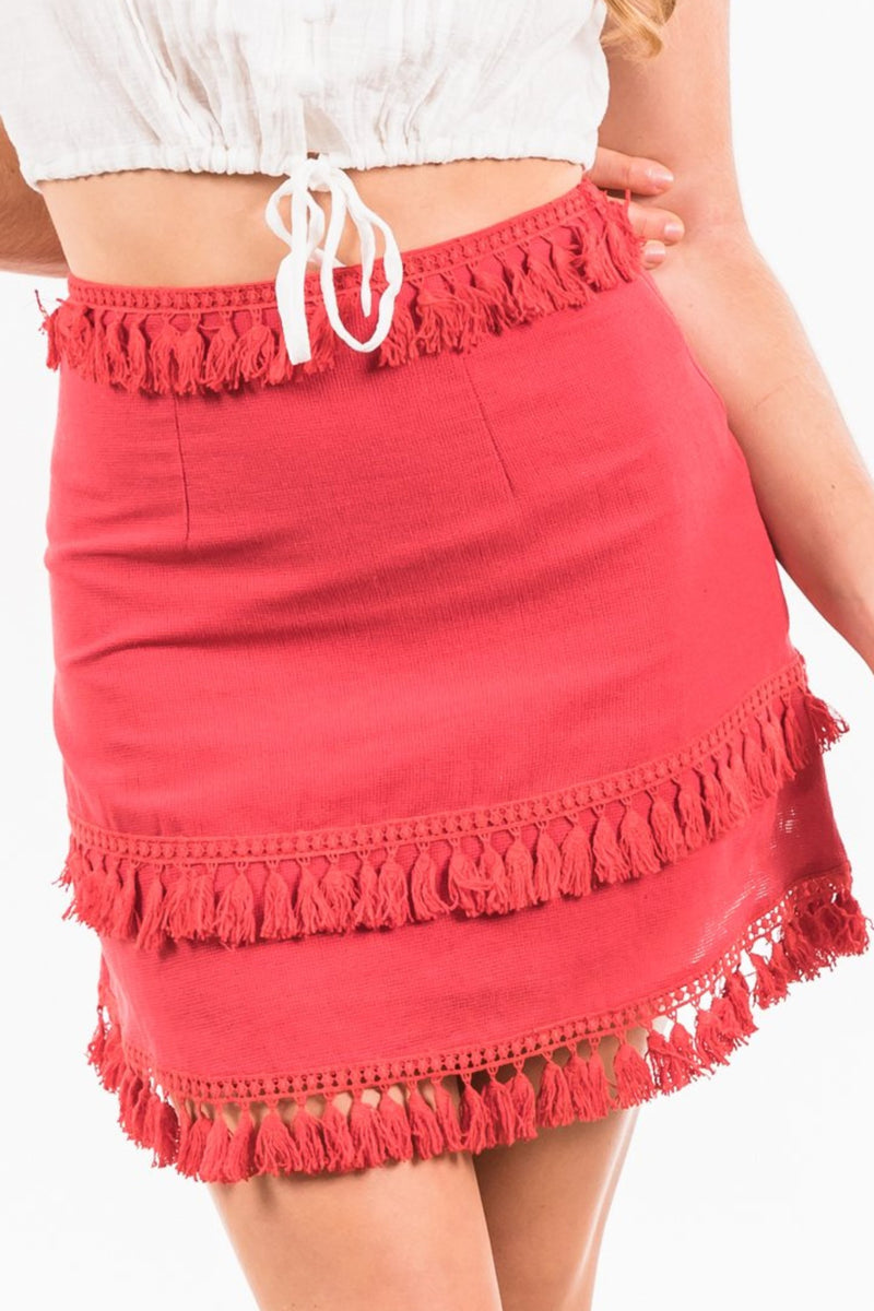 Akuma Tassle Skirt - Red