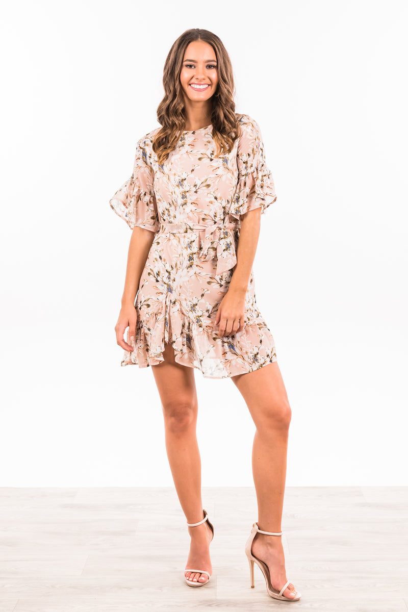 Amber Dress - Nude Floral