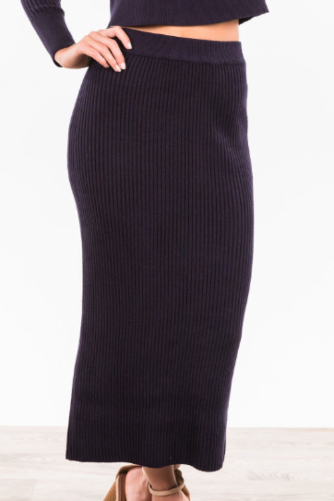 Harlem Knitted Skirt - Navy