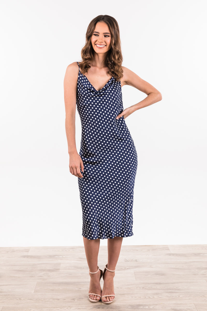 Lani Dress - Navy Polka