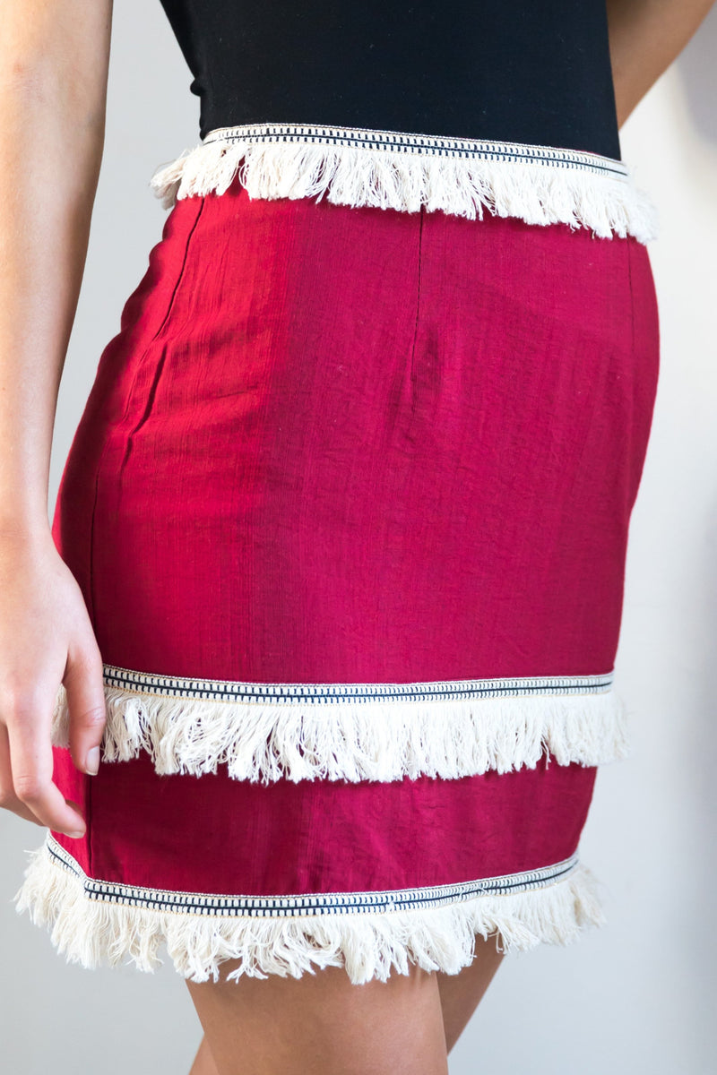 Liv Tassle Skirt - Burgundy