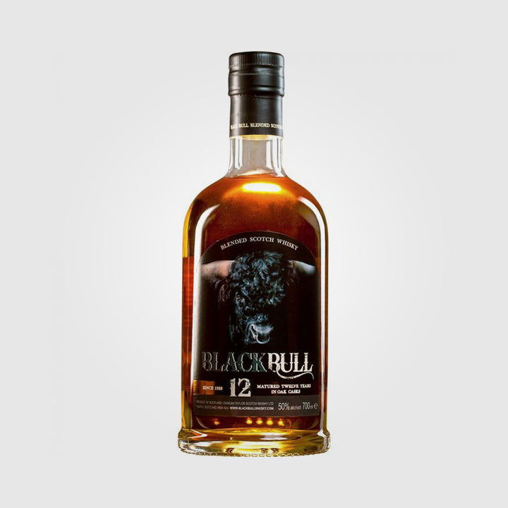 duncan taylor_scotch single malt blended whisky_black bull 12 year old blended whisky_drunken stork