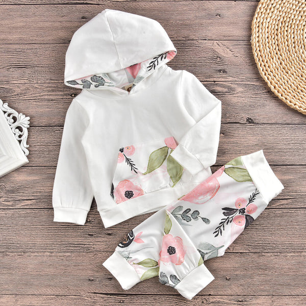 Baby Girl Long Sleeve Hoodie & Floral Pants Set