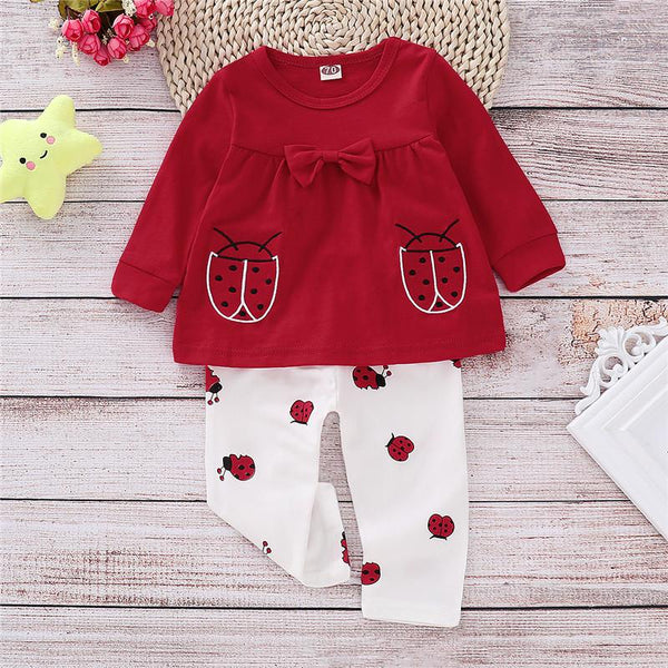 Baby Girl Red Color Beetles Bowknot Long Sleeve Suits