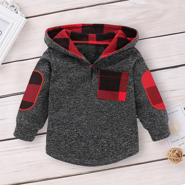 Baby Boy Deep Gray Hooded Suit