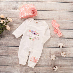 Flower & Letter Print Bodysuit Set