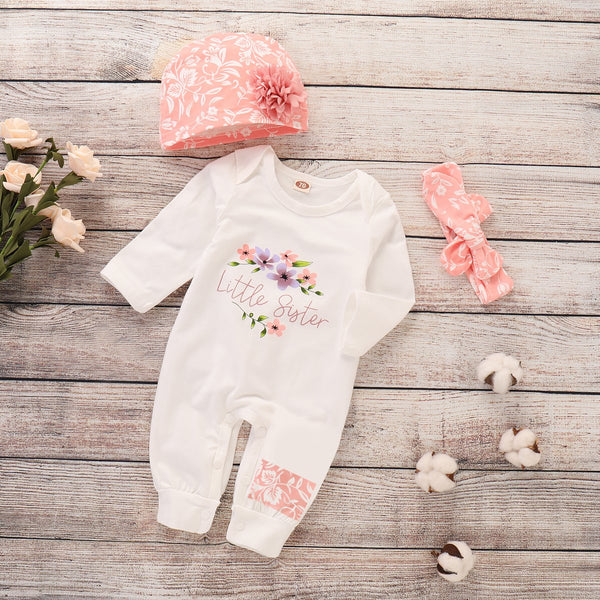 Baby Girl Pure Color White 3 Pcs Bodysuit
