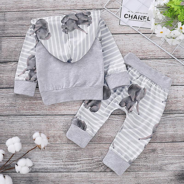 Baby Stripe Gray Elephant Long Sleeves Suits