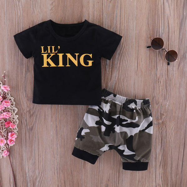 Letter Print Black Tee & Camo Shorts Set