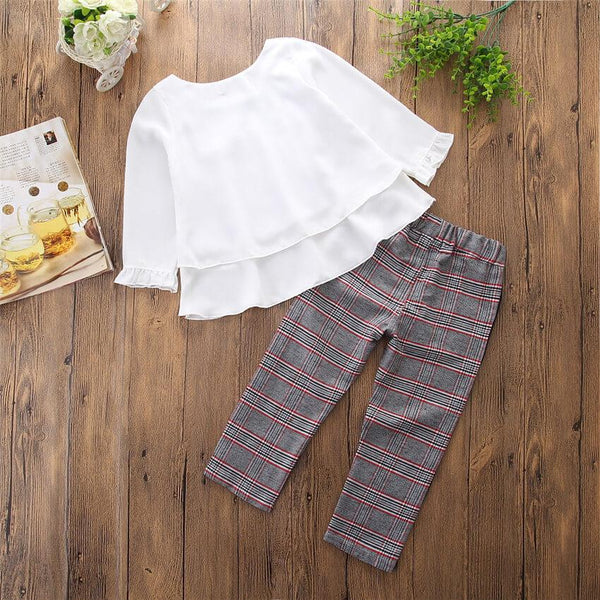 Tiered Hem Shirt and Plaid Pants Set