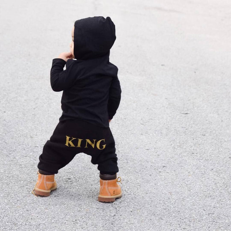 Baby Boy King Letter Print Hooded Jumpsuit