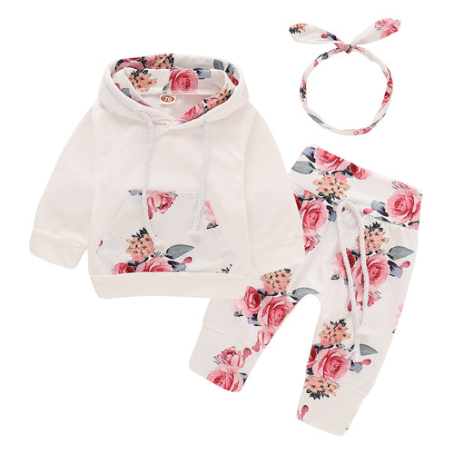 Floral Cotton Newborn Baby Clothes With Headband