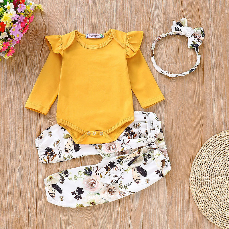 Ruffle Romper & Floral Pants with Headband Set