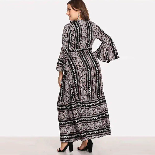 Plus Size Floral Trumpet Sleeves Maxi Dress
