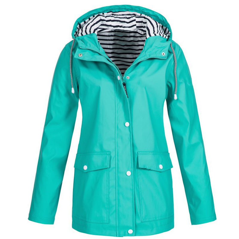 Outdoor Hooded Solid Female Rain Jacket