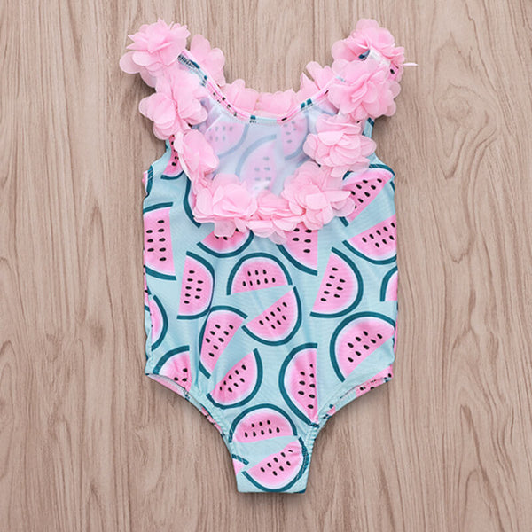 3D Flower Watermelon Print One-piece Swimwear