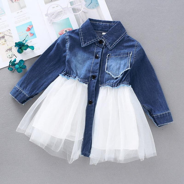 Baby/Toddler Girl Long Sleeve Denim Mesh Splice Dress