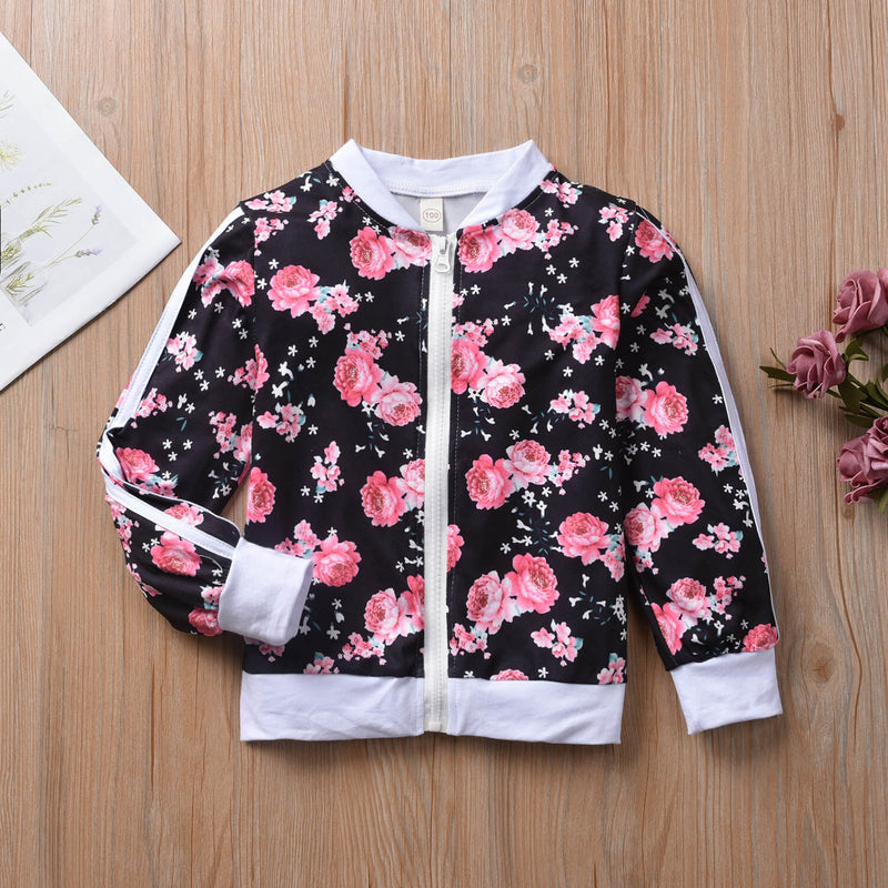 Rose Print Zip Up Bomber Jacket & Pants Set