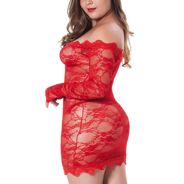 Plus Size Two Colors Lace Off Shoulder Sleepwear