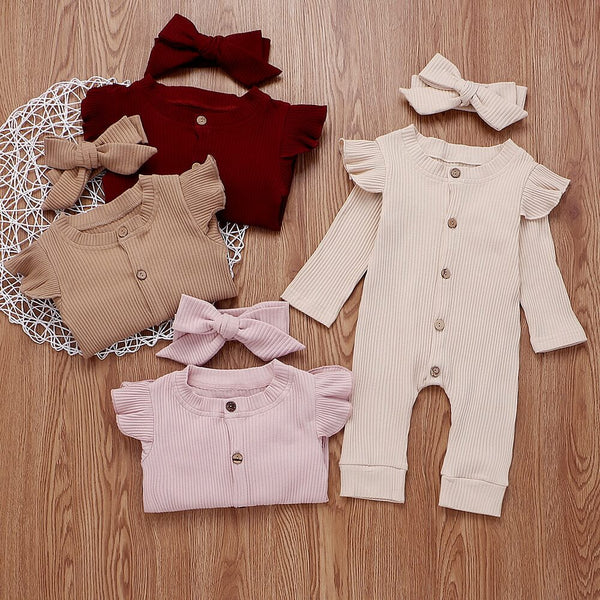 Baby/Toddler Girl Long Sleeve Solid Pink Romper
