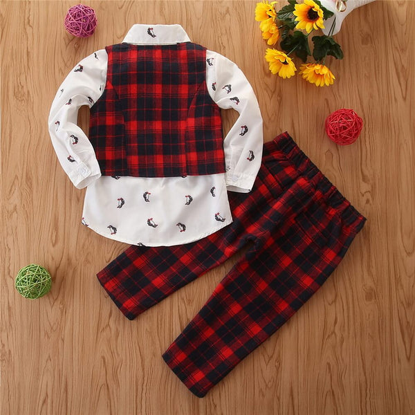 Penguin Print Shirt & Plaid Pants With Waistcoat Set