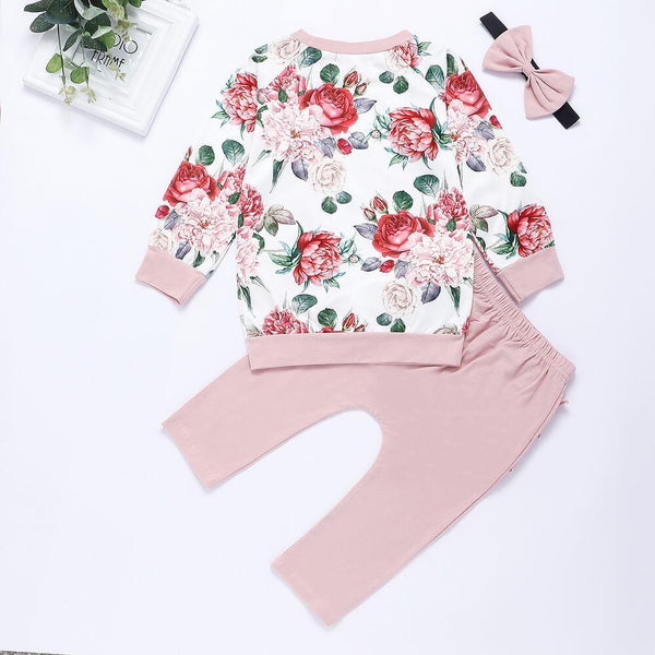 Floral Print Top & Ruffle Layered Pants Set