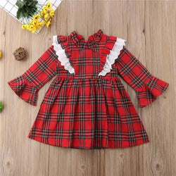 Frill Neck Bell Sleeve Plaid Dress