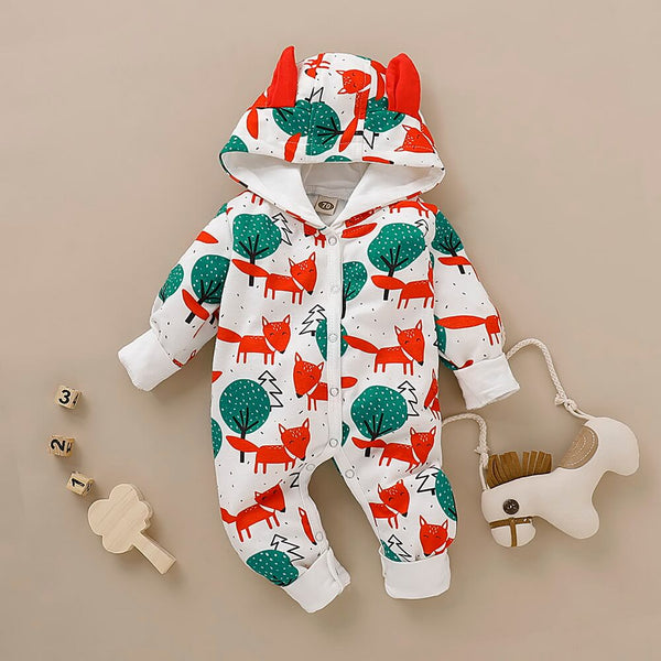 3D Ears Design Fox Print Hooded Jumpsuit