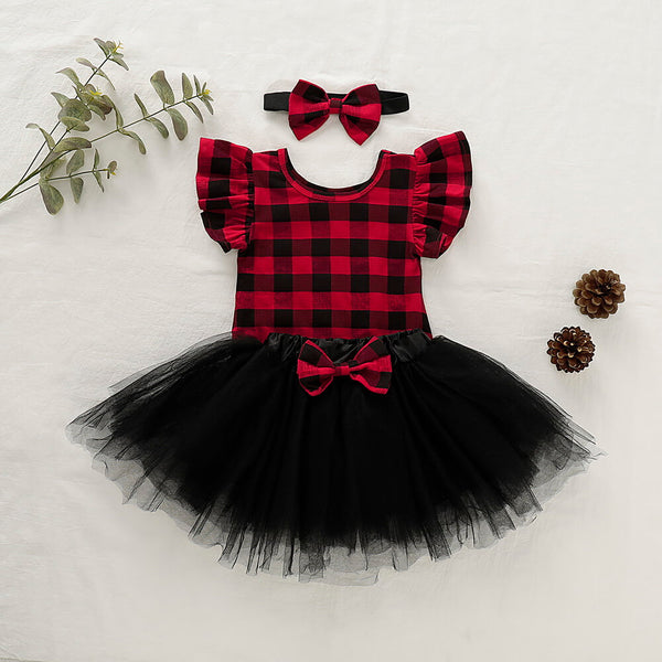 Ruffle Plaid Bodysuit & Black Tutu Skirt With Headband