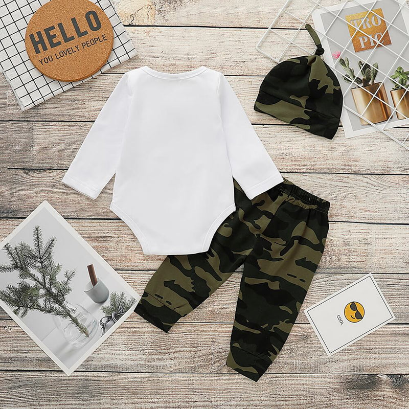 Bow Letter Graphic Bodysuit & Camo Pants With Hat