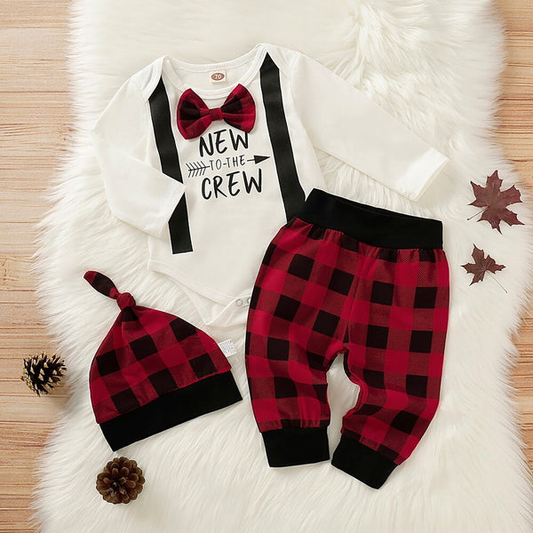 Bow Letter Graphic Bodysuit & Plaid Pants With Hat