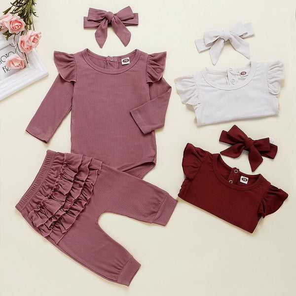 Long Sleeve Bodysuit & Ruffle Trim Pants With Headband