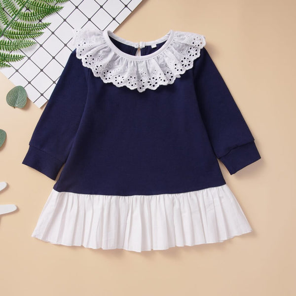 Lace Collar Contrast Pleated Hem Babydoll Dress