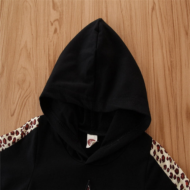 Contrast Leopard Print Hooded Set