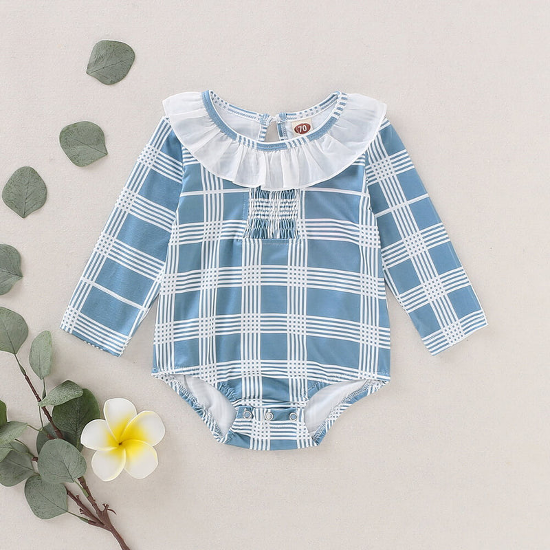 Round Neck Ruffle Trim Plaid Bodysuit
