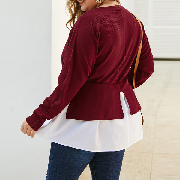Plus Size V Neck Colorblock Blouse