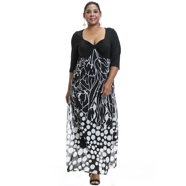Plus Size Half Sleeve Printed Maxi Dress