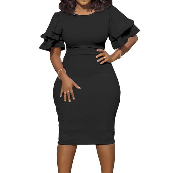 Plus Size Short Flounce Sleeves Bodycon Dress