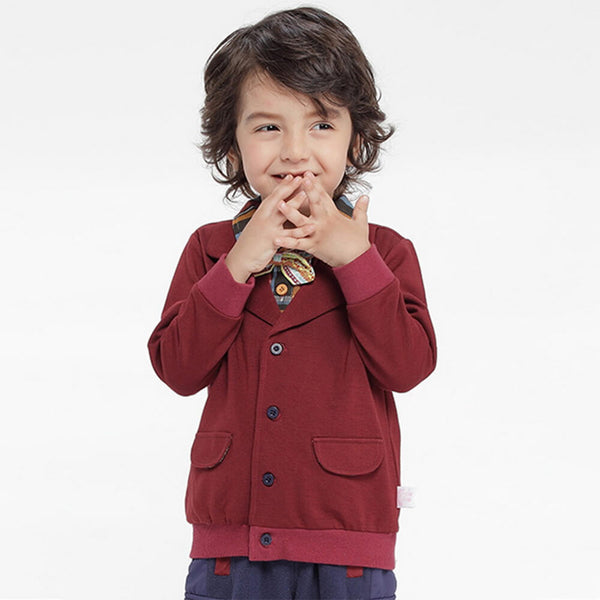 Boys Plaid Collor Fake Flap Pocket Shirt