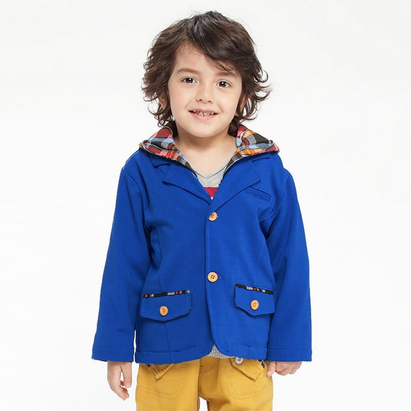 Boys Button Front Plaid Hooded Coat