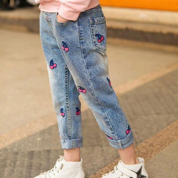 Pocket Side Embroidered Cherry Jeans